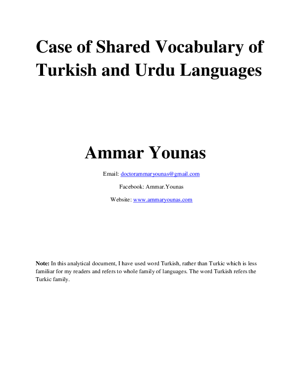 PDF) Case of Shared Vocabulary of Urdu and Turkic Languages