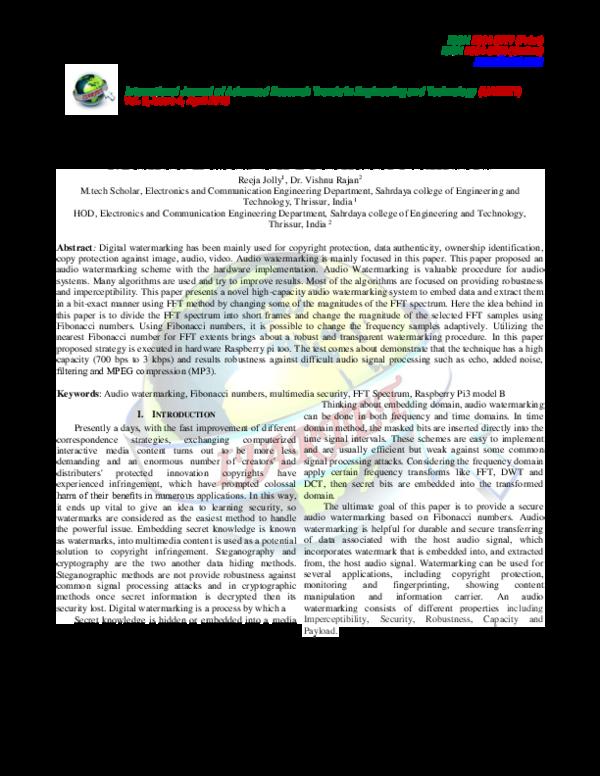PDF) A Novel High Capacity Audio Watermarking Method Based