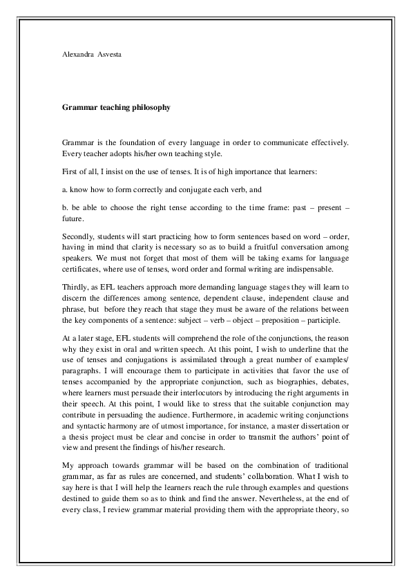 PDF) Grammar teaching philosophy | Alexandra Asvesta