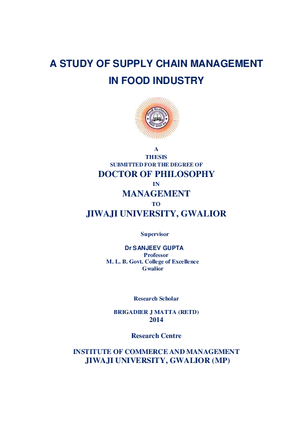 PDF) A STUDY OF SUPPLY CHAIN MANAGEMENT IN FOOD INDUSTRY | AKASH