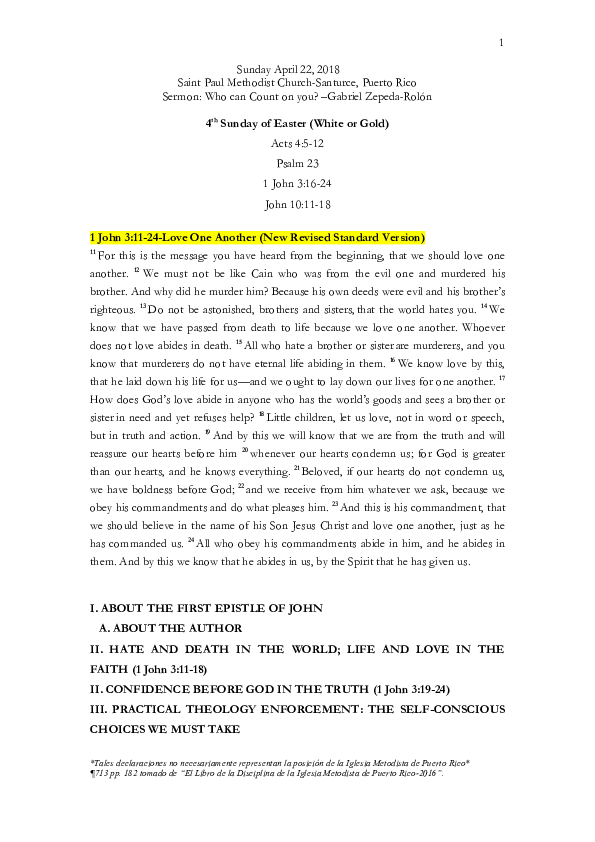 PDF) 1 JOHN 3:11-24 Love One Another | Gabriel Zepeda-Rolón