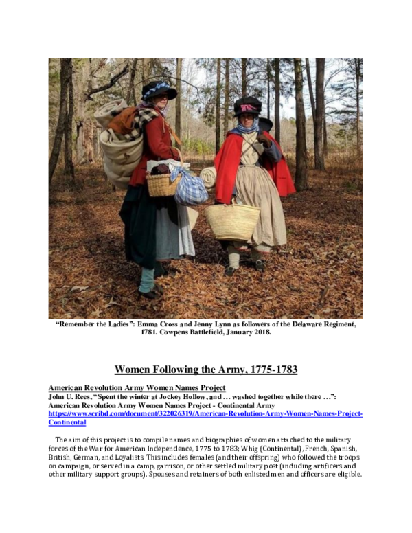 PDF) Women Following the Army, 1775-1783 (A compendium of online