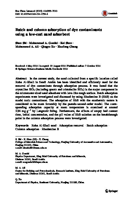 PDF) Batch and column adsorption of dye contaminants using a