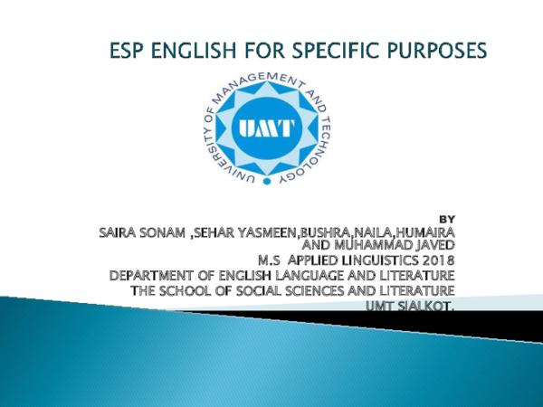 Ppt Esp English For Specific Purposes Sonam Saira Academia Edu