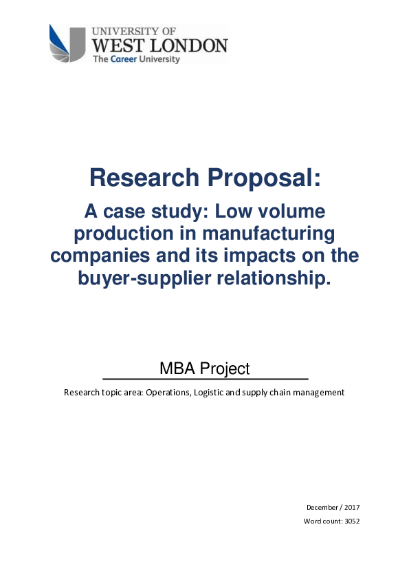 Case Study Research Proposal