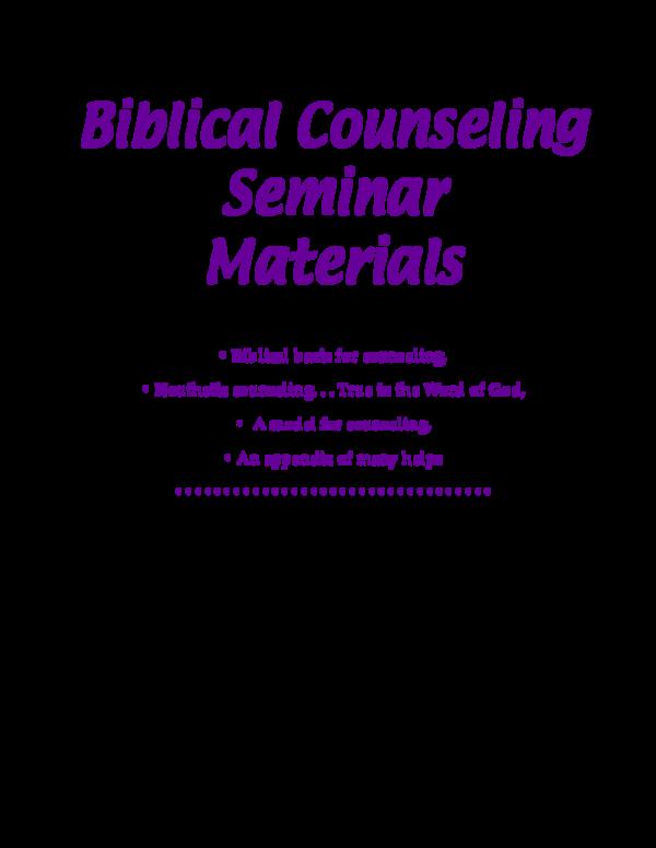 PDF) Biblical Counseling | Johan De Winnaar - Academia edu