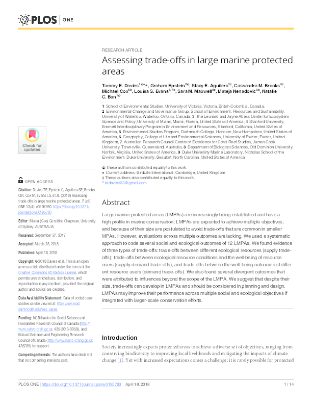 PDF) Assessing trade-offs in large marine protected areas