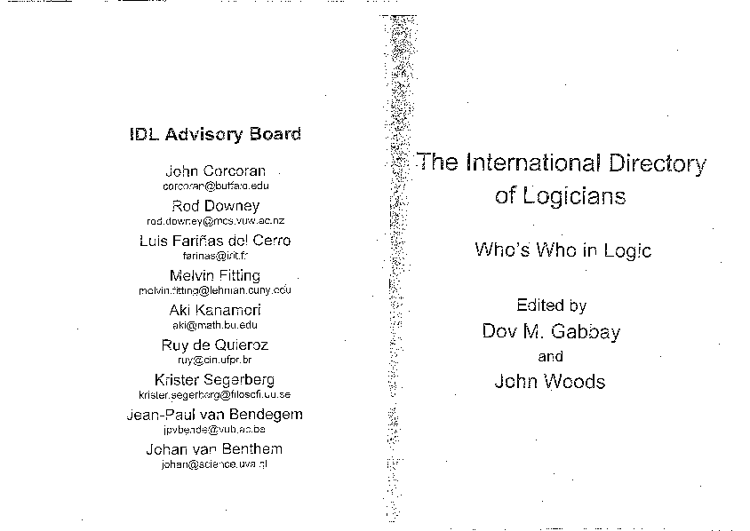 International Directory Of Logicians Whos Who In Logic John