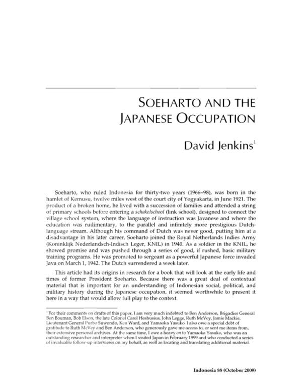 PDF) SOEHARTO & JAPANESE OCCUPATION BY DAVID JENKINS.pdf   Edd ...