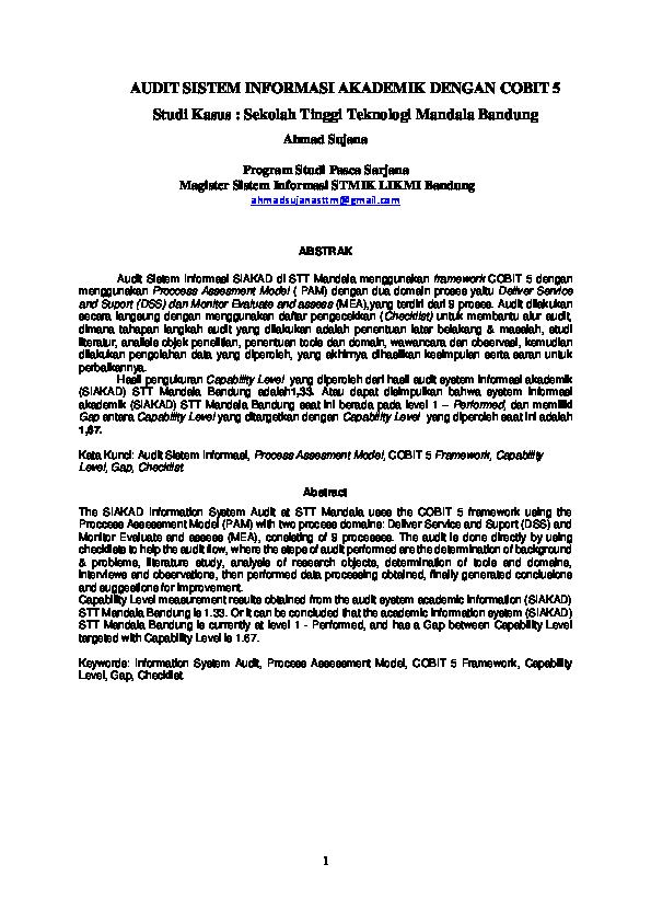 Pdf Audit Sistem Informasi Akademik Dengan Cobit 5 Ahmad Sujana Academia Edu