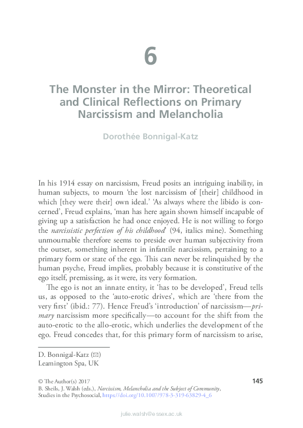 PDF The Monster In Mirror Theoretical And Clinical Reflections