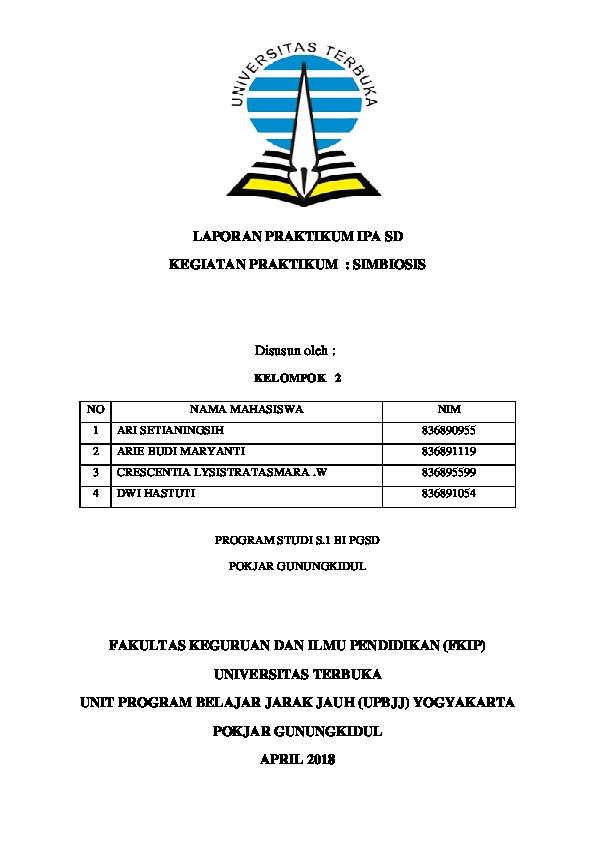 Doc Laporan Praktikum Ipa Sd Simbiosis Agnes Heni Academia Edu