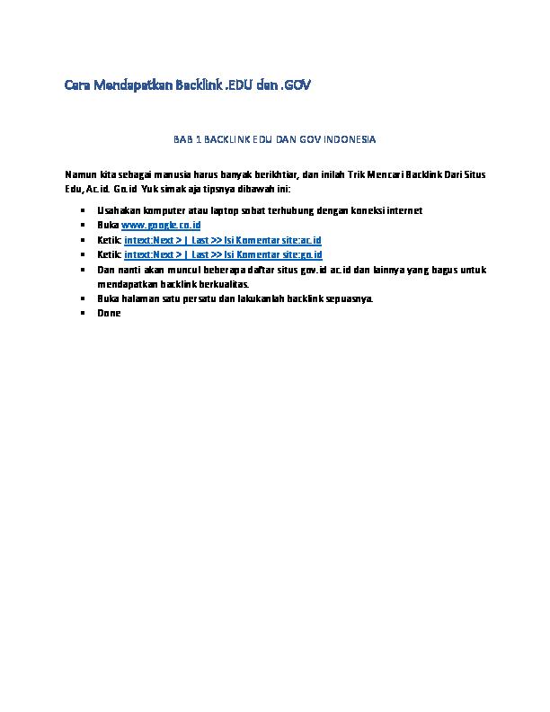 PDF) Cara tanam backlink edu dan  gov | alsa alta - Academia edu