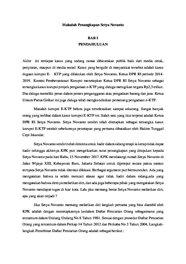 Doc Makalah Penangkapan Setya Novanto Ivan Siahaan Academia Edu
