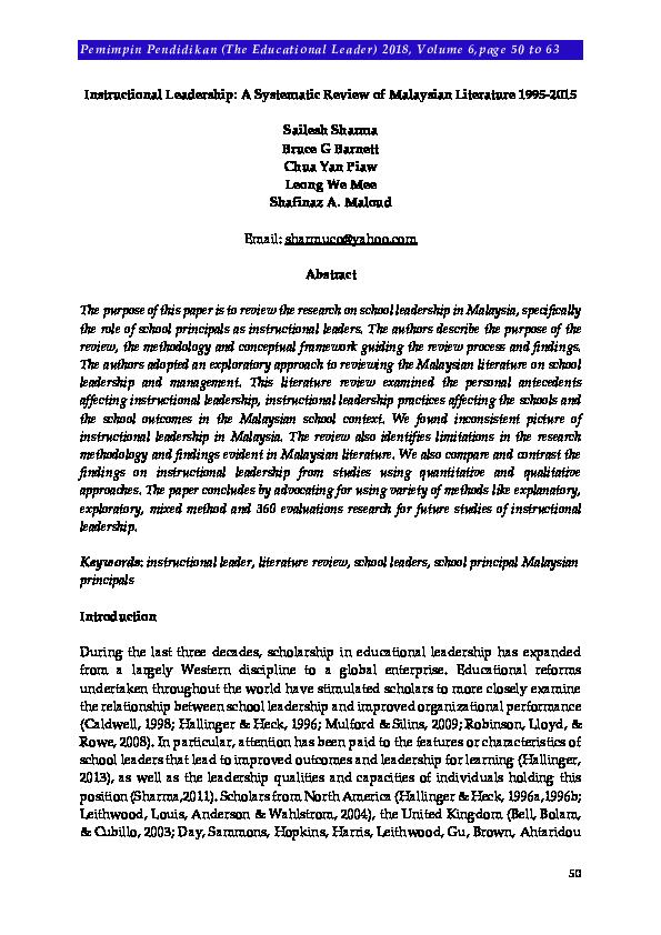literature review kepimpinan