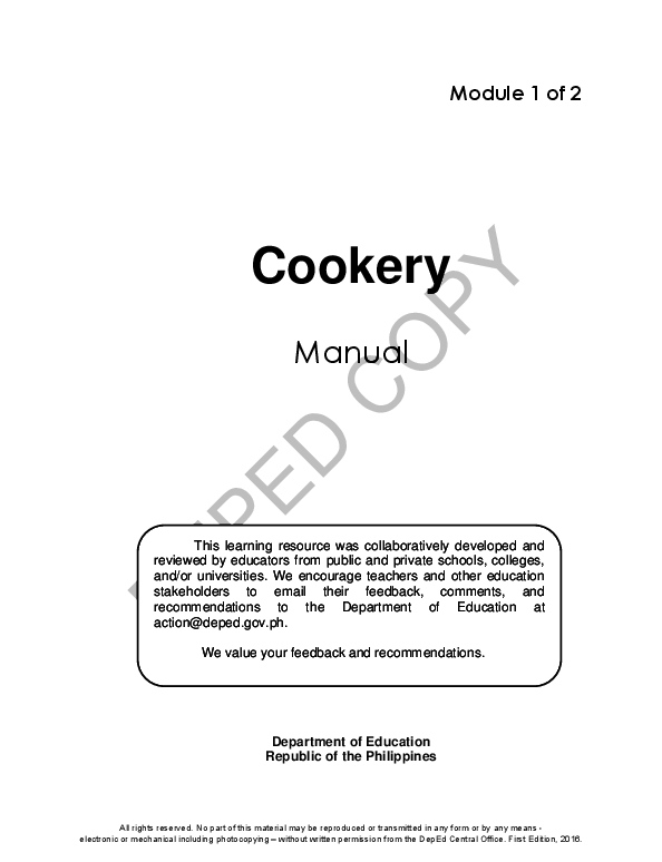 PDF) Module 1 of 2 Cookery Manual Department of Education Republic