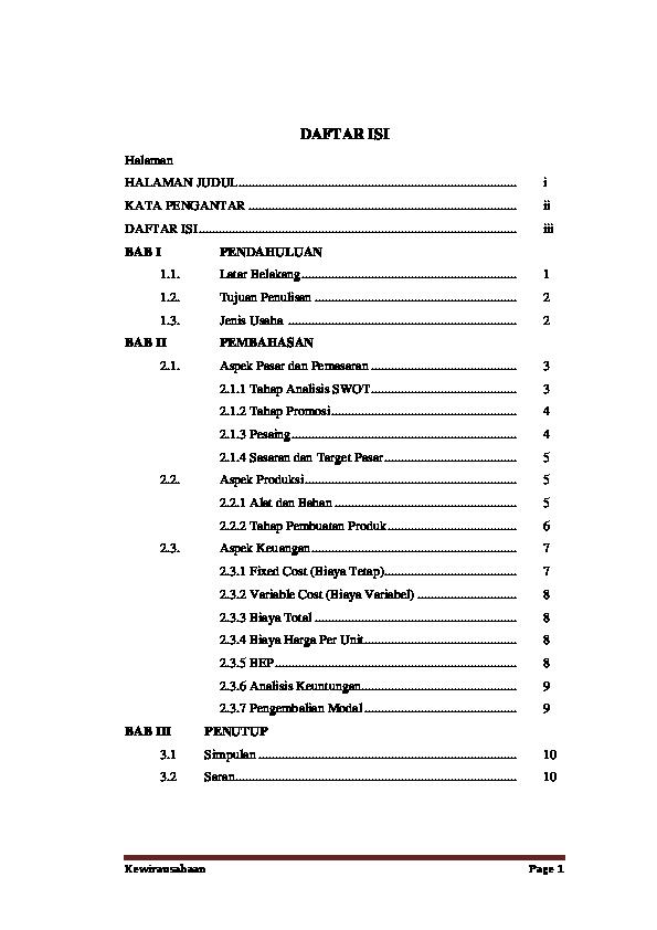 Doc Proposal Usaha Aksesoris Plus Daftar Isi Nova Zhee Academia Edu