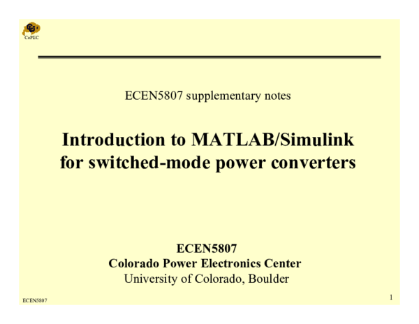 PDF) Introduction to MATLAB/Simulink for switched-mode power
