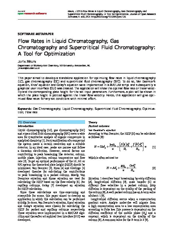 PDF) Flow Rates in Liquid Chromatography, Gas Chromatography