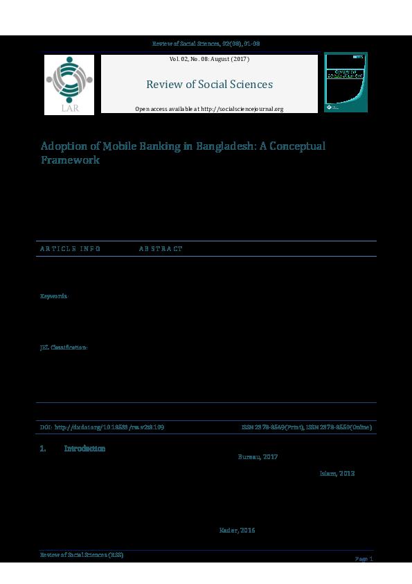 PDF) Adoption of Mobile Banking in Bangladesh: A Conceptual