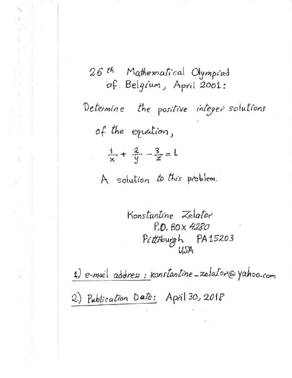 PDF) 26th Mathematical Olympiad of Belgium , April 2001