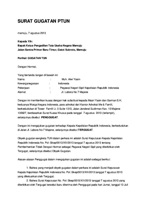 Doc Surat Gugatan Ptun Esra Fuza Academiaedu