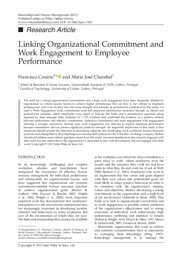 PDF) Linking Organizational Commitment and Work Engagement