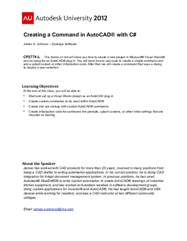 PDF) Creating a Command in AutoCAD® with C | Alejandro Ballesteros