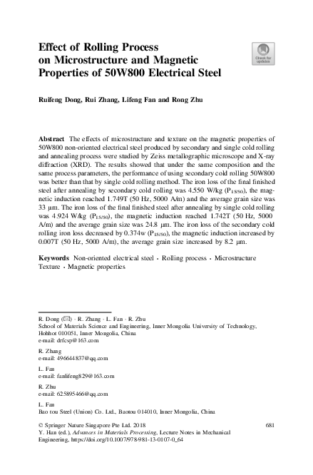 PDF) Effect of Rolling Process on Microstructure and Magnetic