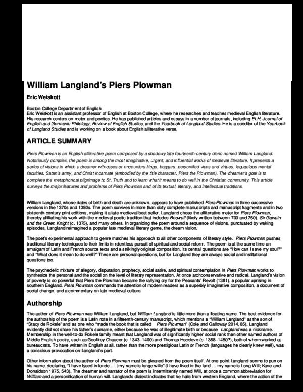 William Langlands Piers Plowman Eric Weiskott Academia