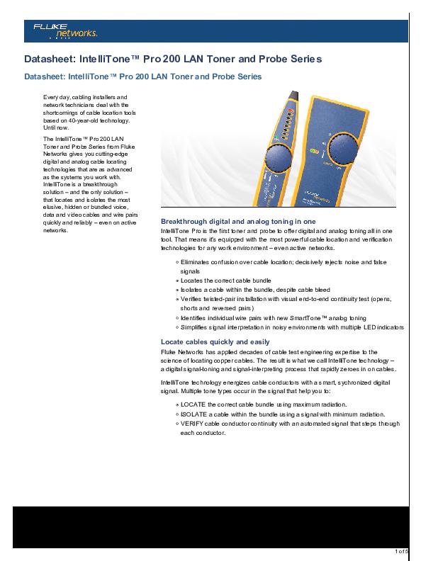 PDF) Datasheet: IntelliTone™ Pro 200 LAN Toner and Probe