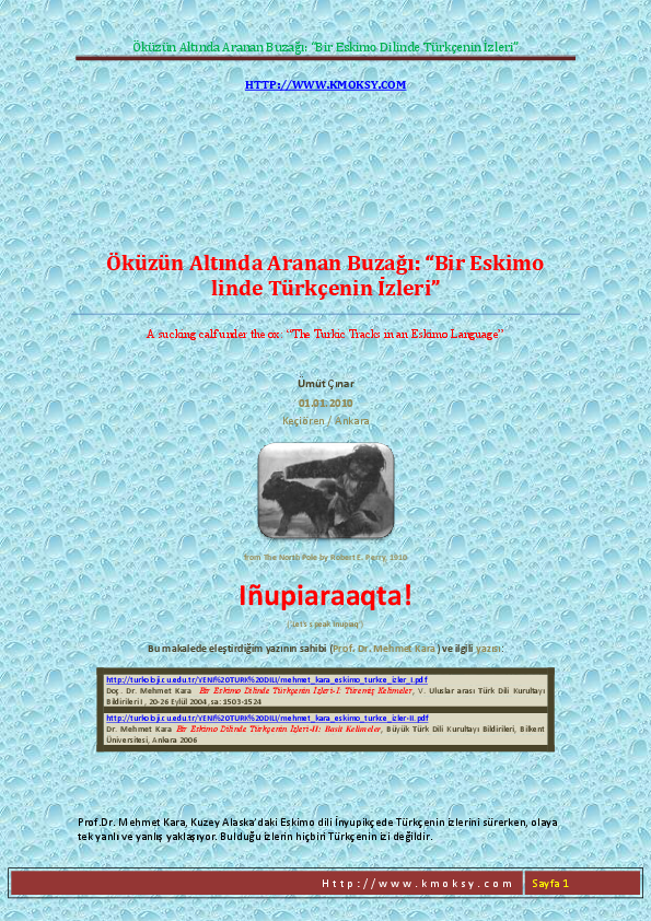 PDF) The Turkic Tracks in an Eskimo Language 2010 | Ümüt Çınar