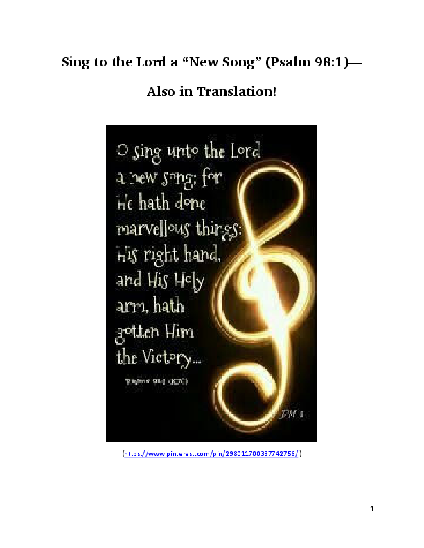 PDF) Sing to the Lord a