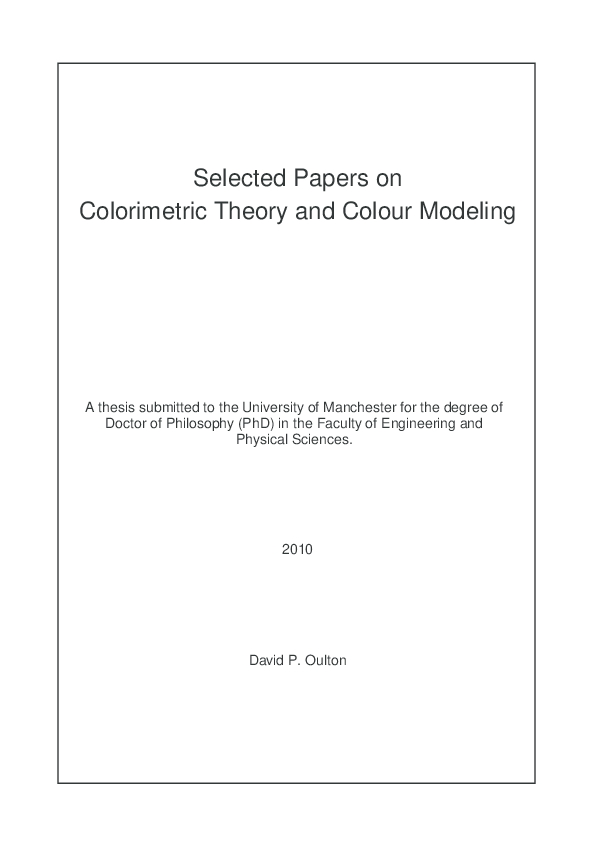 PDF) Selected Papers on Colorimetric Theory and Colour