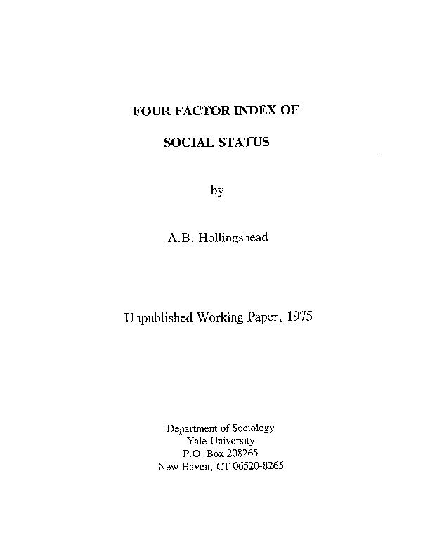 PDF) Four Factor Index of Social Status   Roi Paschou - Academia edu