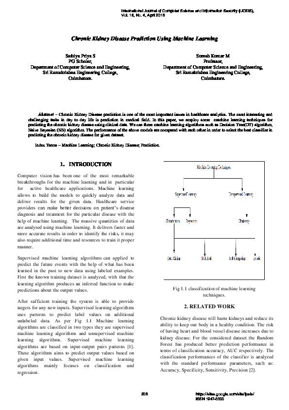 PDF) Chronic Kidney Disease Prediction Using Machine