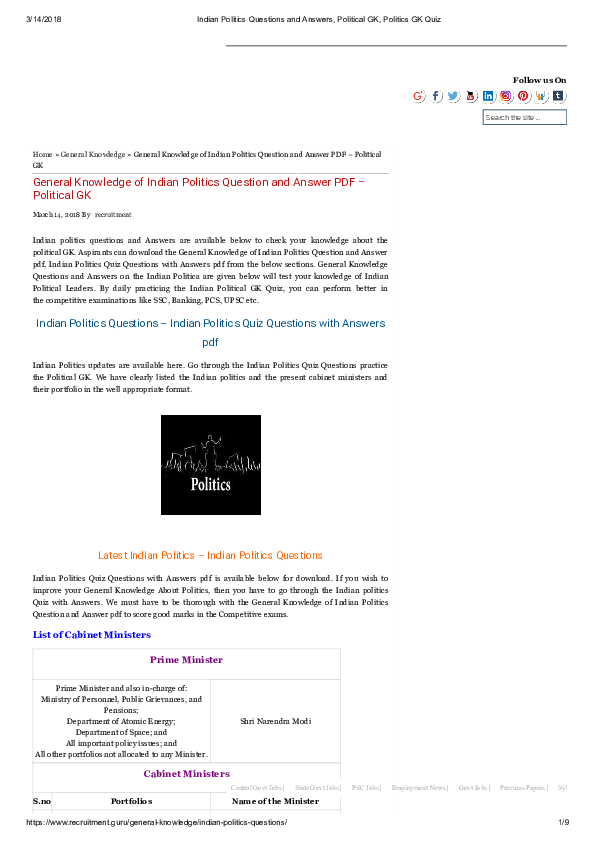 PDF) General Knowledge of Indian Politics Question and Answer PDF