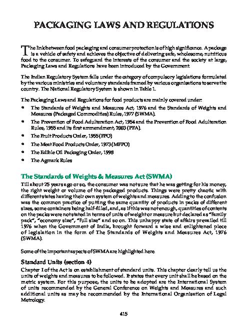 PDF) PACKAGING LAWS AND REGULATIONS | Sai Krishna - Academia edu