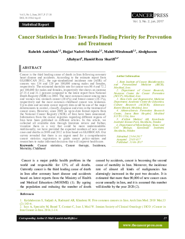 PDF) Cancer Statistics in Iran: Towards Finding Priority for