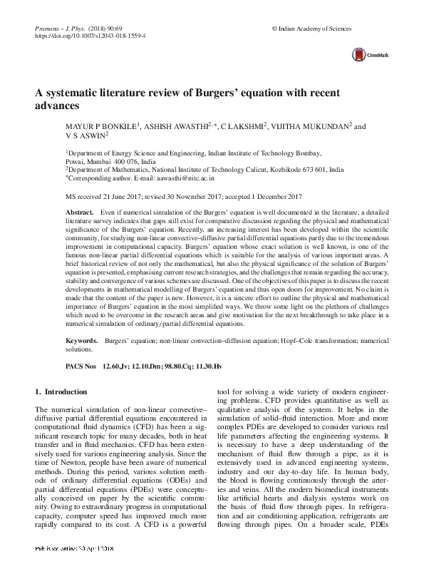 PDF) A systematic literature review of Burgers' equation