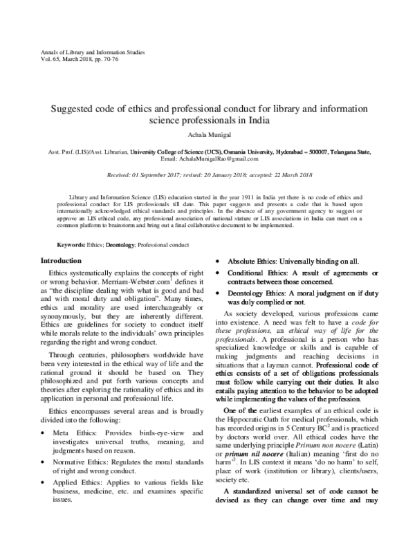PDF) Suggested code of ethics and professional conduct for library