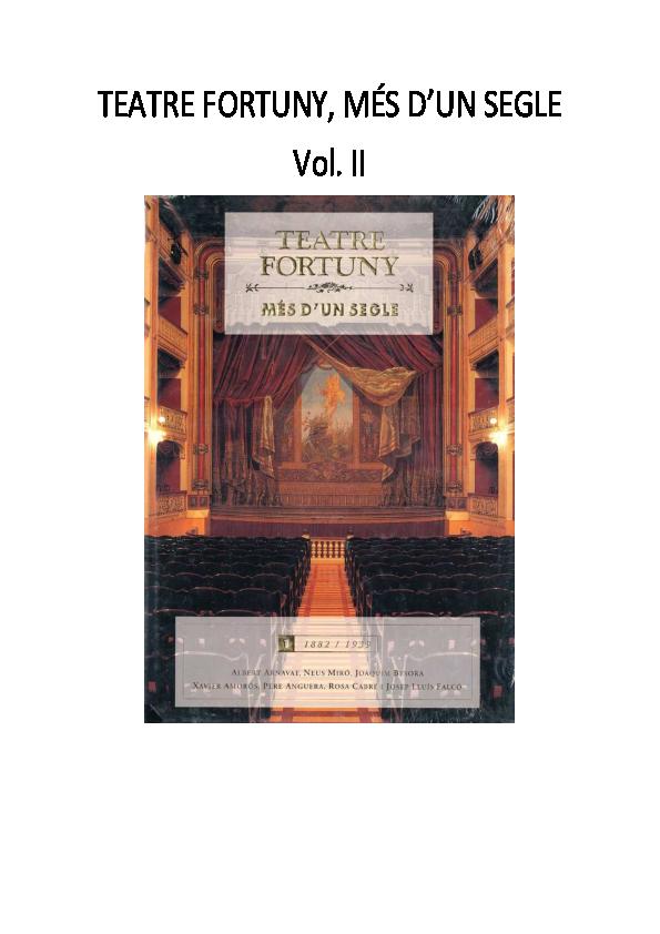 Pdf Teatre Fortuny Més Dun Segle Vol Ii 1939 1988 Albert