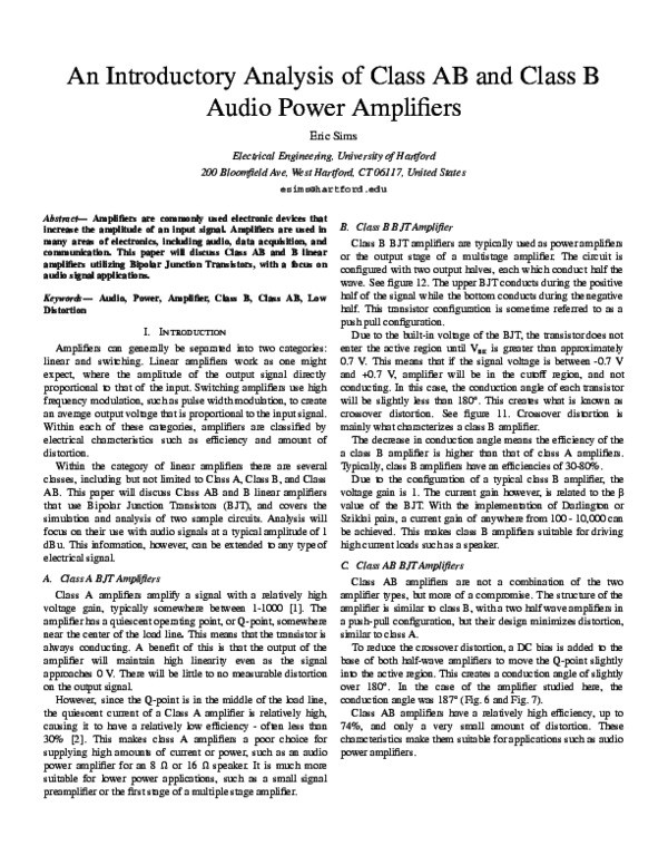 PDF) An Introductory Analysis of Class AB and Class B Audio Power