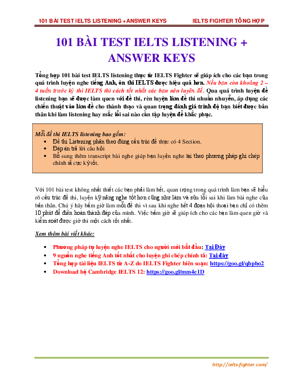 PDF) 01 BÀI TEST IELTS LISTENING + ANSWER KEYS | Nguyễn Trần