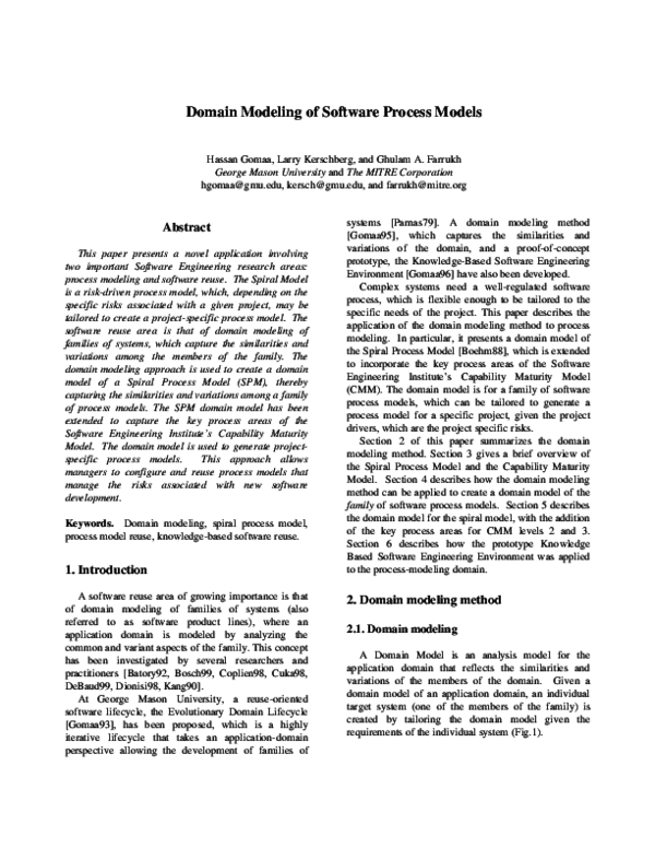 Pdf Domain Modeling Of Software Process Models Hassan Gomaa Academia Edu