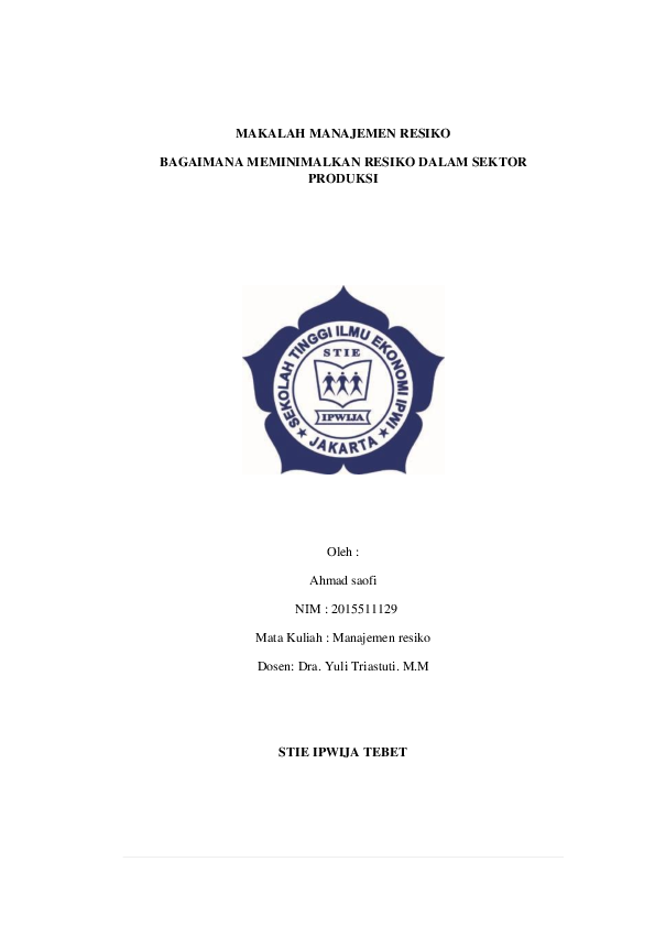 Doc Makalah Manajemen Resiko Ahmad S S Academia Edu