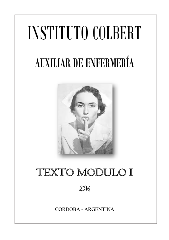 Pdf Auxiliar De Enfermería Instituto Colbert Historia