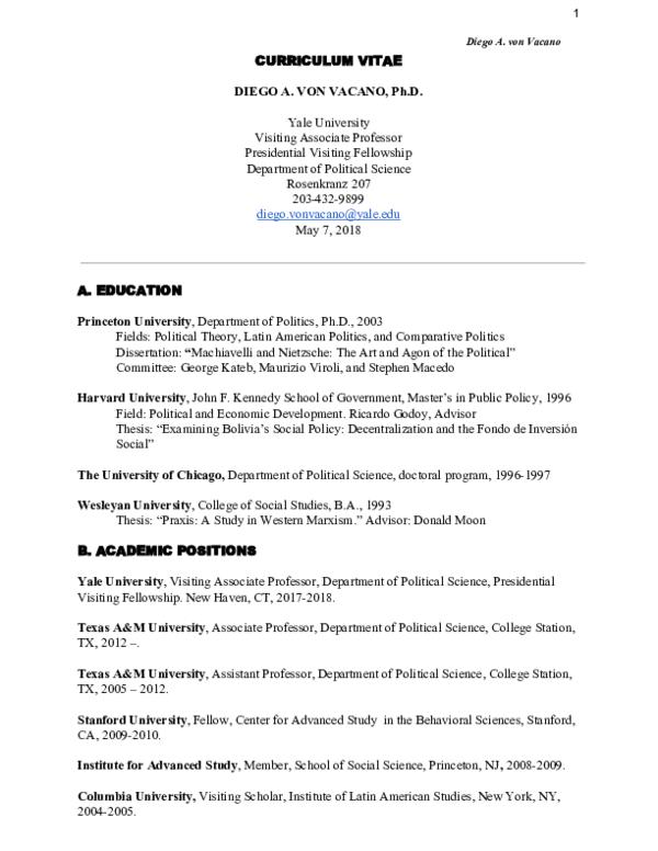 PDF) CV may 2018 | Diego A  von Vacano - Academia edu