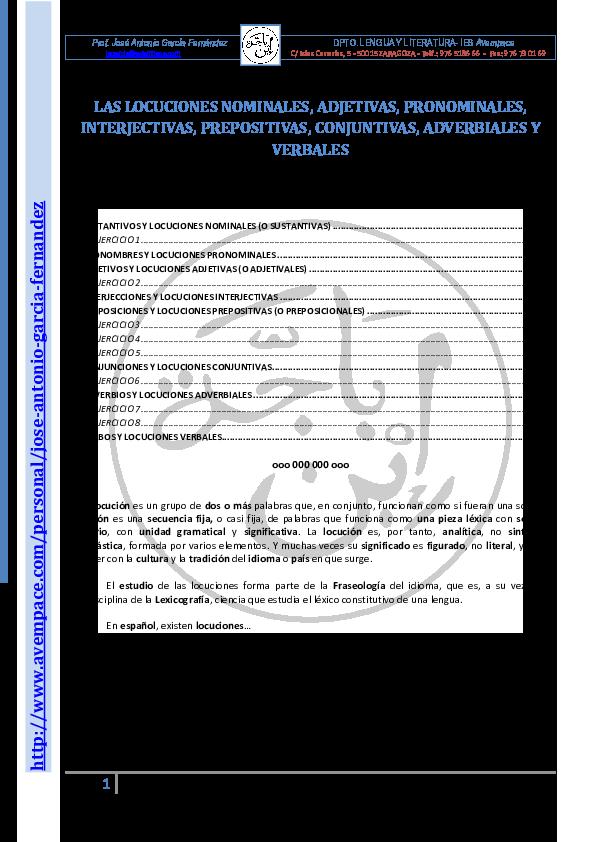 Pdf 4 Las Locuciones Prepositivas Conjuntivas