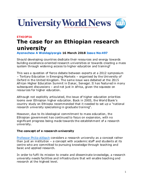 PDF) The case for an Ethiopian research university